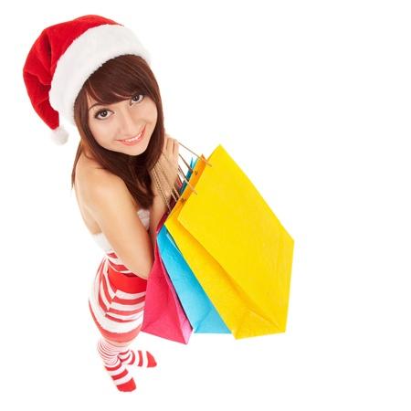 shopping cartoon: Fun santa woman with packages