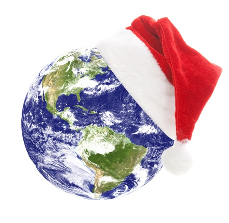 new year's cap: Earth with santa hat
