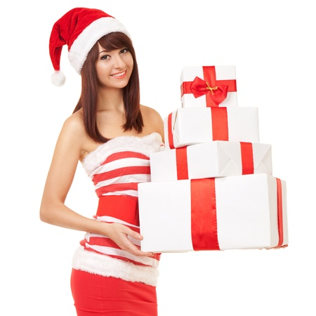 Happy santa woman with gift boxes Stock Photo - 17038675