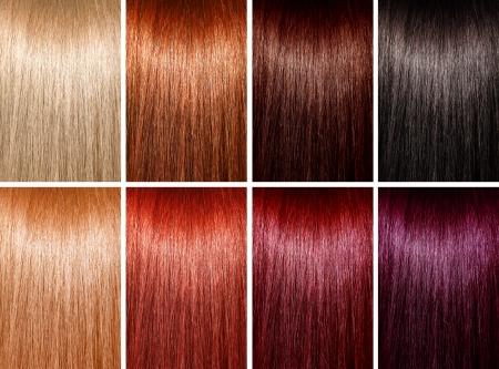 tinte de cabello: Ejemplo de diferentes colores de pelo Foto de archivo