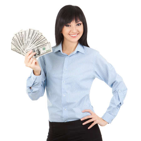 wasting: Young business woman with money Stock Photo