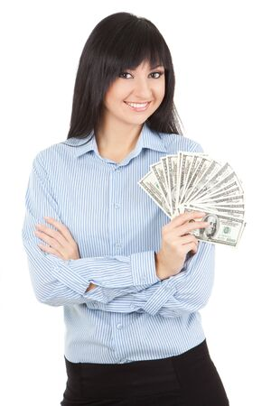 Young business woman with money photo