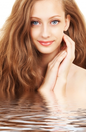 wash face: Portrait of a young woman with beautiful hair