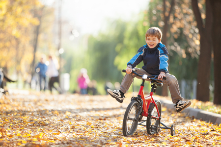 Happy boy with bicycle in the autumn park photo