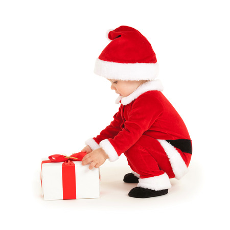 Cute santa baby on the white background Stock Photo - 26947782