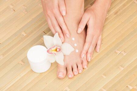 foot cream: care for beautiful woman legs