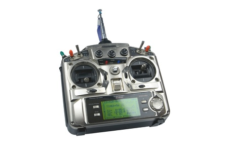 Remote control for helicopers and airplanes isolated on white