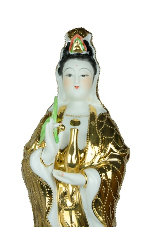 The Guan Yin statue on white background photo