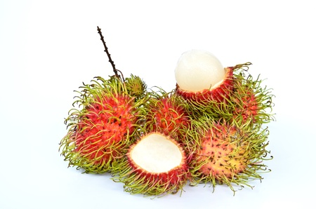 Tropical fruit Rambutan isolated on white background photo