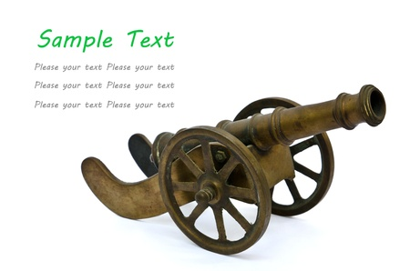 wheel barrel: Ancient cannon on wheels isolated on white