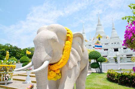 Elephant statue in  Wat Asokaram, Samut Prakan, Thailand