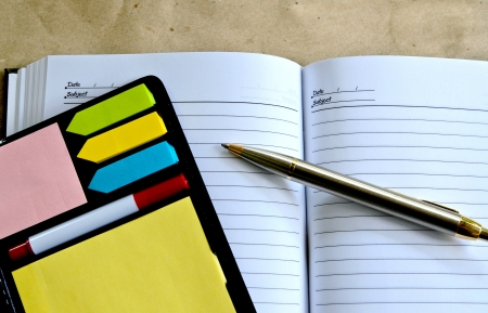 pen lying on a notebook Stock Photo - 21777361