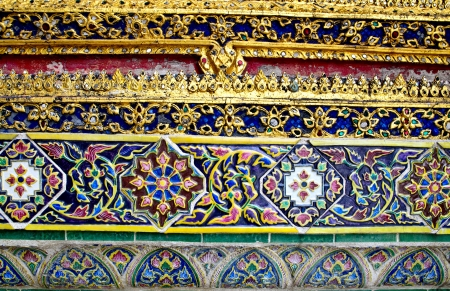 temple wall ornate ceramic, Thailand photo