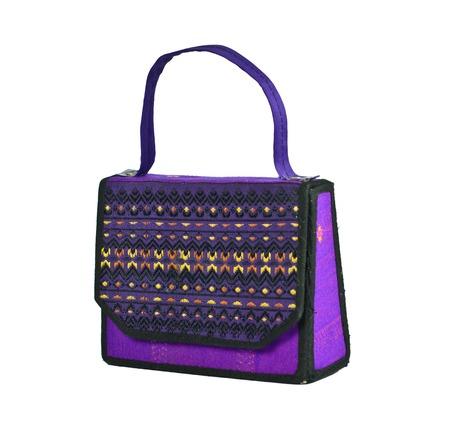 Handbag made of Thai silk patterns Mudmee from Banmi Lopburi, Thailand.