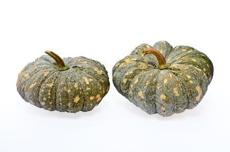 green pumpkin fruit on white background