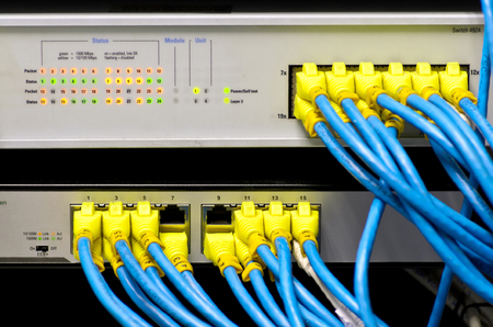 cat5: Network switch and UTP ethernet cables