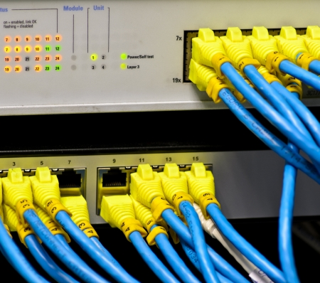 lan: Ethernet switch isolated and router connect Lan colorful