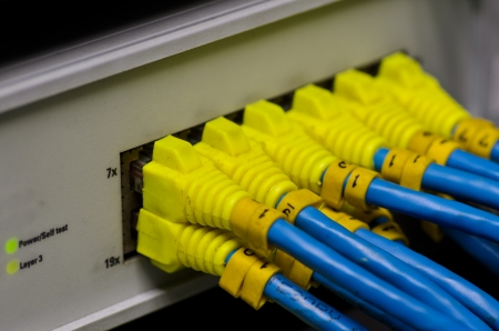 Ethernet switch isolated and router connect Lan colorful photo
