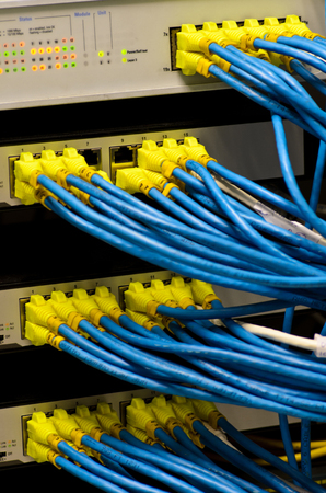 Network switch and UTP ethernet cables Stock Photo - 23832203
