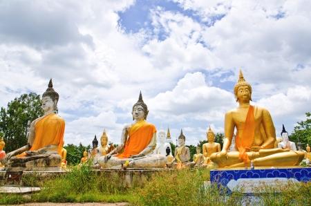golden orb weaver: Buddha statue in temple at Supanburi, Thailand