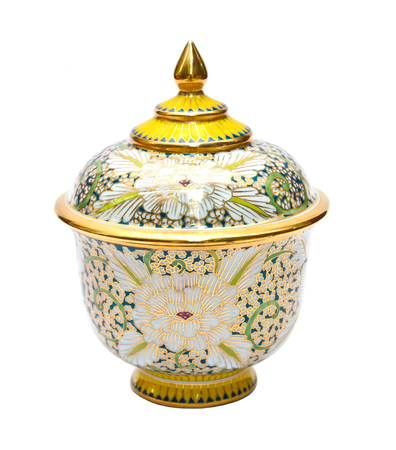 Benjarong porcelain on White background