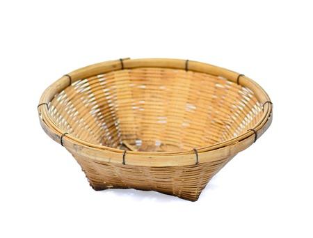 bamboo basket isolated on white background