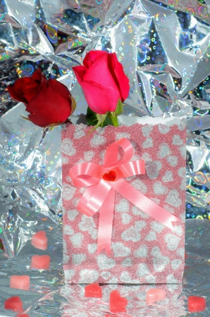 Valentine. Valentines Hearts, Rose Flower and Gift Box photo
