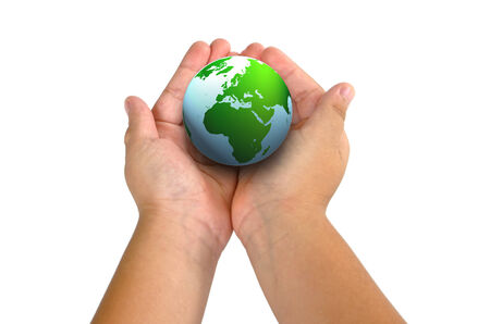 childen: child hand holding the planet Stock Photo