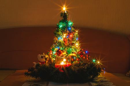 serbia xmas: Small Decorated Christmas Tree Stock Photo