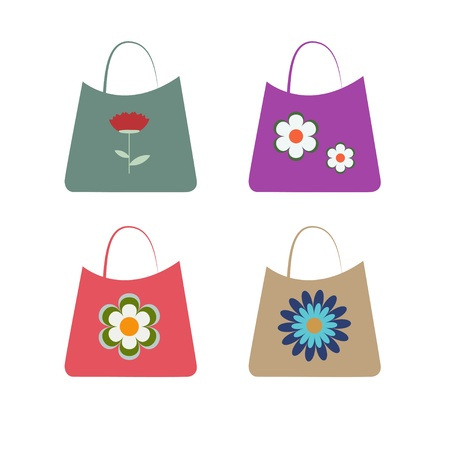 Set of shopping bag with flower