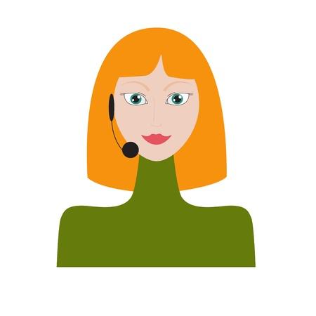 Woman wearing headset Illustration