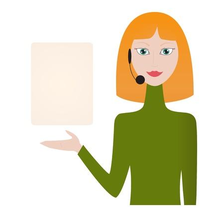 redhead woman: Redhead donna che indossa l'auricolare carta che mostra