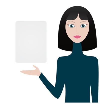 Woman shows blank paper