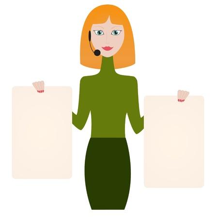 redhead woman: Redhead donna che indossa l'auricolare mostra banner vuoto