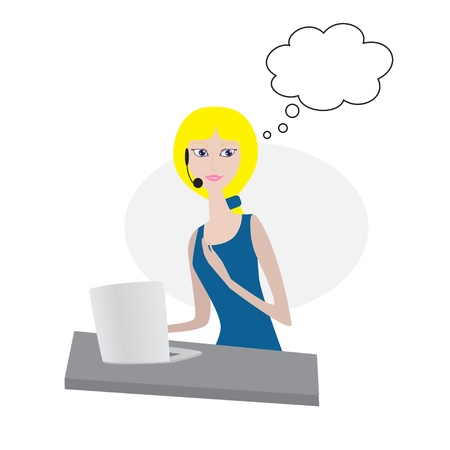 call center female: Thinking woman wearing headset with laptop Illustration