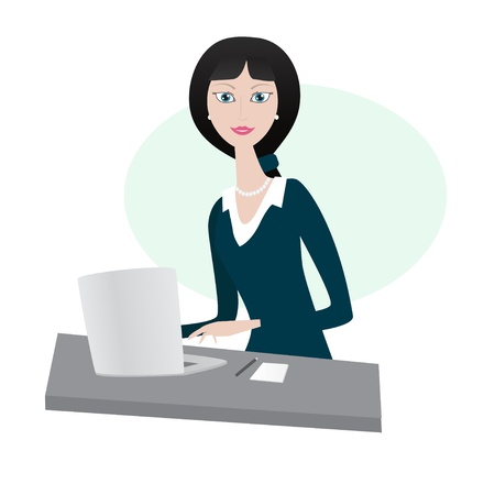 Businesswoman with laptop Illustration