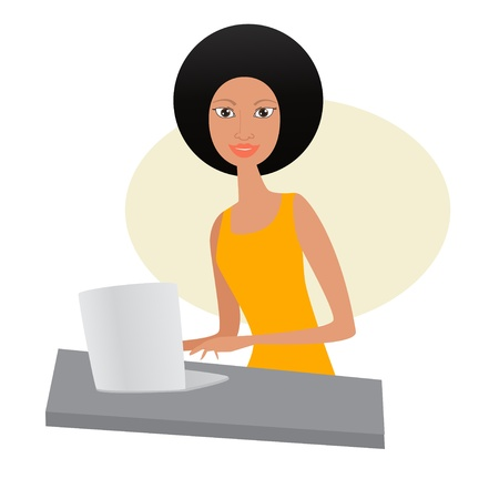 Beautiful african woman with laptop Illustration