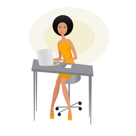 Beautiful african with laptop Illustration
