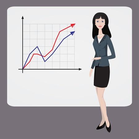 Businesswoman shows graph Illustration