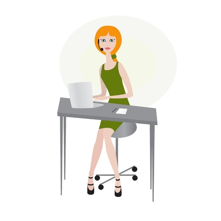Woman wearing headset with laptop Vector