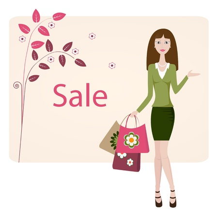 Woman shows sale banner