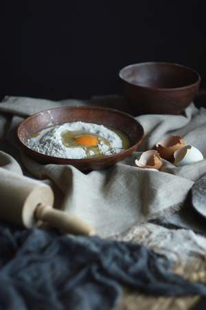 Ingredients for home-made raw noodles, Rustic, Selective Focus, Atmospheric dark tone Stock Photo