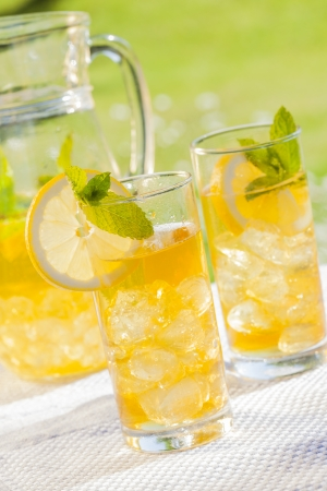 cold summer drinks in garden photo