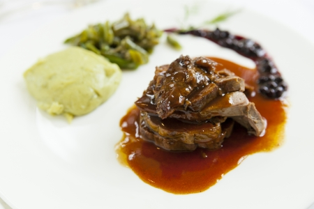 delicious gourmet deer course with sauce photo