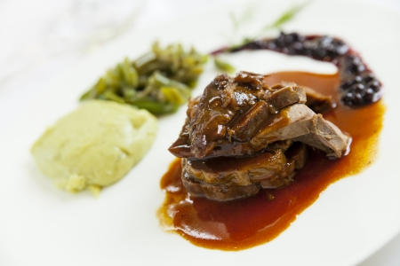 delicious gourmet deer course with sauce