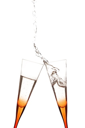 icecubes: touch glasses with champagne splashing Stock Photo