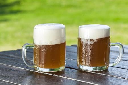 pilsner beer: refreshing chilled german beer in summer garden Stock Photo