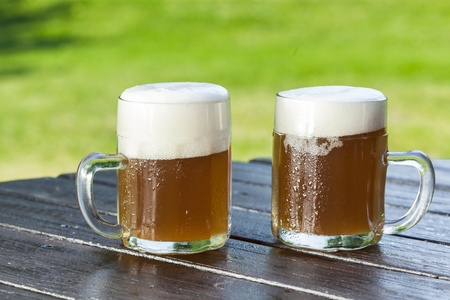 beer festival: refreshing chilled german beer in summer garden Stock Photo