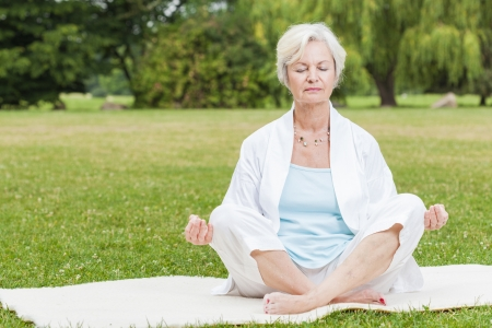 best ager women practising yoga and tai chi outdoors Stock Photo - 21001370