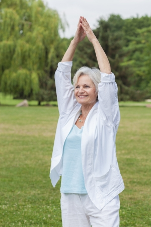 best ager women practising yoga and tai chi outdoors Banque d'images